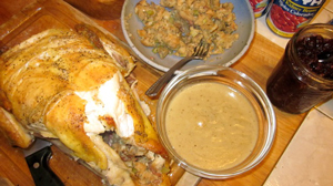 stuffing, dressing, baked chicken